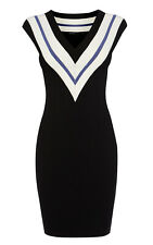 KAREN MILLEN BLACK SPORTY BANDAGE KNIT DRESS SIZE 14 / 16 RRP £160!!! NEW!!!