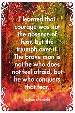 Nelson Mandela Citation Poster-Papier Photo Cadeau Art-courage pas l'absence de la peur