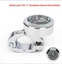 """Universal Plata Aluminio 7/8"""" Motocicleta Manillar de Montaje Reloj Reloj Accesorio"""
