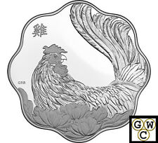 2017 Year of Rooster(Lunar Lotus-Scallop Shape)Prf $15 Fine Silver (NT)(17770)
