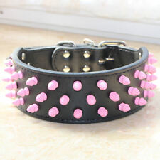 Black Leather Dog Collars Pink Spikes Studs Large Dog Pitbull Terrier collars