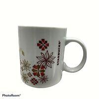 Starbucks 2013 Holiday Poinsettia Snowflake Christmas Coffee Mug Red Gold 12 Oz