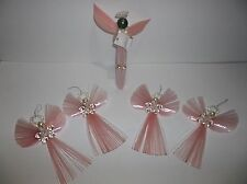 Vintage DRESDEN Angel Christmas Tree Ornament Set Of 5 PINK Hand Made