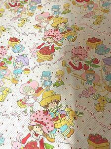 Vintage 1980s Strawberry Shortcake, Twin Flat bed Sheet/Fabric