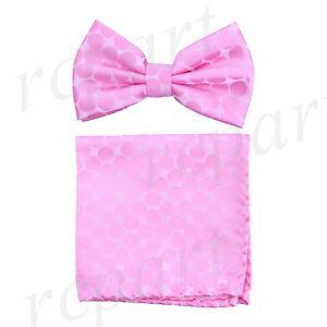 New Men's microfiber Pre-tied Bow Tie & hankie set pink dots formal prom wedding