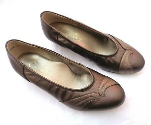 EQUITY MARTHA BRONZE GOLD LEATHER LOW HEEL COURT SHOES UK3.5EE EXTRA WIDE FIT
