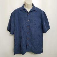 Jos A Bank Mens Hawaiian Shirt Medium Blue Button Up Short Sleeve Camp Shirt