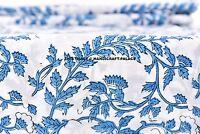 INDIAN 100% COTTON HAND BLOCK PRINT SANGANERI NATURAL BLUE COLOR FABRIC 5 YARDS