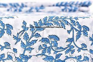 Indien 100% Coton Main Bloc Imprimé Sanganeri Naturel Bleu Couleur Tissu 4.6m