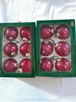 Vintage 12 Christmas By Krebs Glass Ornaments Crowns Maroon