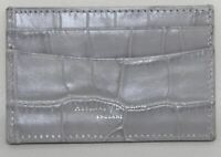 ASPINAL OF LONDON Calf Leather Dove Grey Croc Slim Credit Card Case Embossed