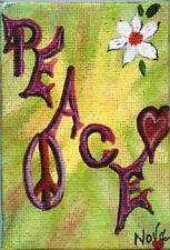 "ACEO Original Art Canvas hippy Love Peace Flowers ""A Wish""  Acrylic by Nova Hart"