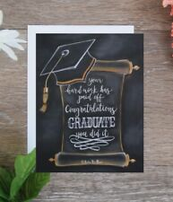 Handmade graduation card hand drawn with chalk next day free shipping!