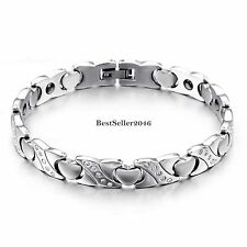 Silver Stainless Steel Love Heart Link X Chain Crystal Magnetic Womens Bracelet