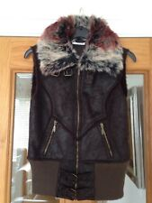 Ladies Zip Through Gillet Body Warmer By Papaya Size 8 Faux Leather Suede Look