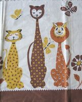 "Vintage 1950 Children's Novelty Cat Cotton Feedsack Fabric~10""L X 24""W"