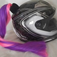 Pink & Purple Helmet Pony Tail / Two Color / Motorcycle / Bike. Hand Made in USA