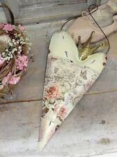 Herz mit Krone Rose Blume Metall Blech Fenster Wand Tür Hänger Landhaus Geschenk
