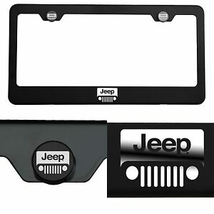 Laser Engraved Jeep Logo Mirror Matte Black License Plate Frame Stainless Steel
