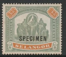 095 MALAYA - SELANGOR 1897 $25 opt'd SPECIMEN fine mint about  750  produced