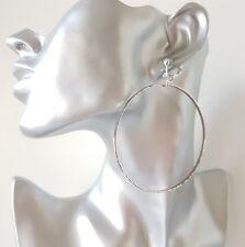 1 pair of 7.5cm long silver tone narrow CLIP - ON hoop drop earrings * OPTIONS *