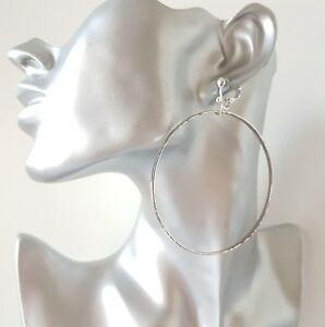 1 pair of 7.5cm long silver tone narrow CLIP - ON hoop drop earrings * OPTIONS *
