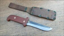 RAZOR SHARP Unusual Vintage Custom Carbon Steel Sawback Hunting Knife from Italy