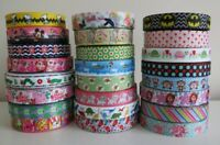 Grosgrain Ribbon Printed Dummy Hair Clips Cake Craft 22mm (7/8``) 25mm (1``)