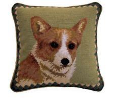 "Corgi Dog Needlepoint Pillow 10""x10"" NWT"