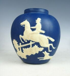 1920's WELLER CHASE BLUE & WHITE W/HUNTER JUMPING A FENCE W/DOG VASE-SIGNED