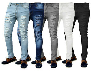 Mens Skinny Ripped Jeans Super Stretch Denim Distressed Blue Black Slim Fit