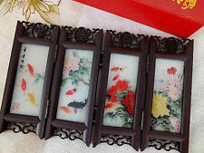 JAPANESE COLOR KOI CARP PEONY MINI GLASS SCREEN TABLE WEDDING BIRTHDAY PARTY A2