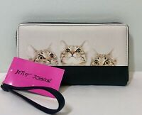 New BETSEY JOHNSON Zip Around Wallet Wristlet Black White Kitty Cats Clutch NWT