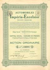 Automobiles Imperia - Excelsior SA, accion, enero 1928 (Siege: Nessonvaux)