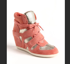 ASH BEA pink peach rose gold suede wedge high top sneakers shoes 39 8.5