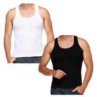 RIBBED Fitted Slim Fit Athletic Muscle Gym Rib Vest Tank Top Singlet 100% Cotton