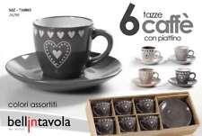 SET 12 PZ TAZZINE CAFFè PORCELLANA 6 TAZZE 6 PIATTI CUORI CHIC LOVE SIZ 710803