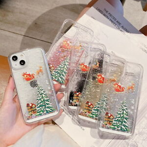 For iPhone 13 12 11 Pro Max XS XR 8 7 Christmas Liquid Quicksand Soft Case Cover