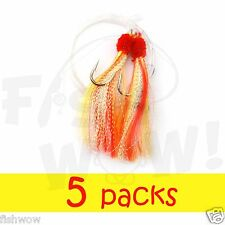 5 packs 5/0 Fishing Shrimp Fly Rig Krystal flash Rockfish Rock Cod Yellow Red