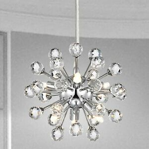Crystal Sputnik Chandelier Modern 6 Light Fixture Ceiling Pendant Lamp Chrome