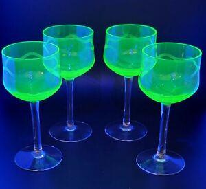 Antique Art Nouveau Deco Vaseline Wine Glasses Set of 4