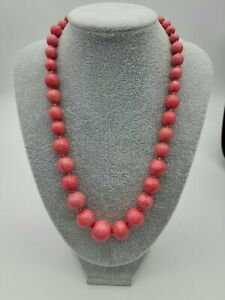 """Vintage Pink Magnesite Turquoise Round Beads  Necklace 19"""""""