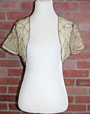 Anthropologie Elizabeth Gillett Sheer Champagne Beaded Short Sleeve Shrug XS/S