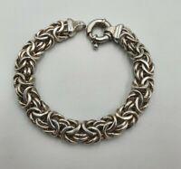 Lovely Sterling Silver Byzantine Link Bracelet, Fully Hallmarked