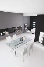 Calligaris Connubia Tisch SEVEN 4042 160 cm in Gestell Aluminium Tisch Glas klar