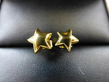 18ct  YELLOW GOLD PLATED STAR STUD EARRINGS 8mm UK SELLER