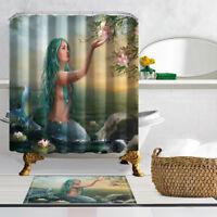 180x180cm Mermaid Mildew Bathroom Waterproof Fabric Shower Curtain 12 Hooks
