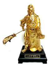 """15"""" Gold Plated Chinese Oriental Kwan Kung (Guan Gong) God - Ideal Protection"""