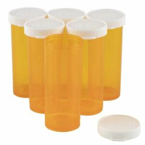 8 Dram Empty Pill Bottles with Caps (50 Pack)
