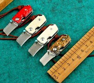 Mini Wharncliffe Folding Knife Pocket Hunting Combat  Damascus Steel Bone Handle